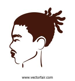 profile young afro man ethnicity with rasta hair style and mustache silhouette style icon