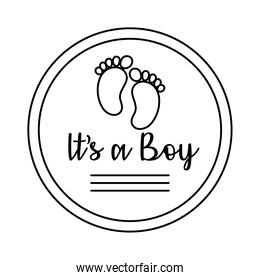 baby shower frame card with foot print and lettering its a boy line style
