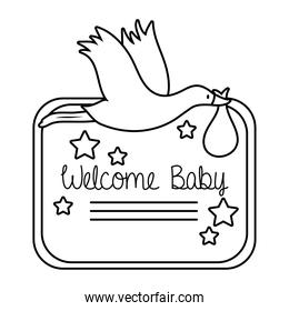 baby shower frame card with stork and welcome baby lettering line style