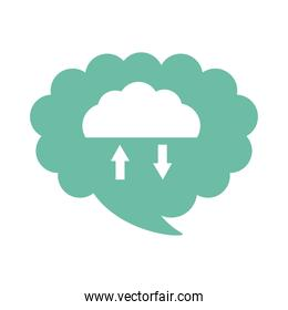 cloud computing with arrow flat style icon