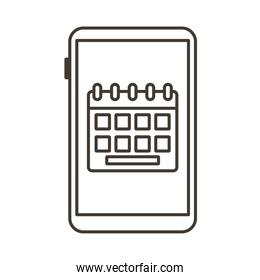 smartphone device with calendar line style icon