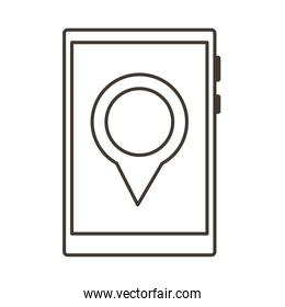 smartphone device with pin location line style icon