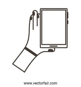 hand lifting smartphone vertically line style icon