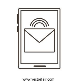 smartphone device with envelope email line style icon