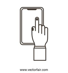 hand touching smartphone display line style icon