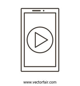 smartphone device with play button line style icon