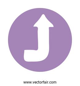curve arrow up direction block style icon