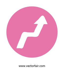 arrow right and up direction block style icon