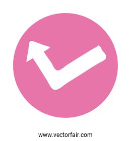 arrow left and up direction block style icon