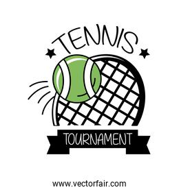 ball and racket tennis sport with ribbon line and fill style icon