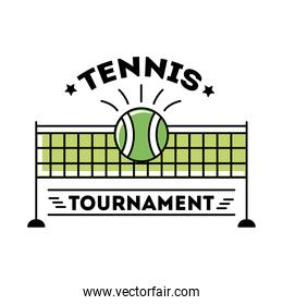ball tennis sport with lettering and net line and fill style icon