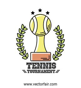 trophy ball tennis sport with wreath crown line and fill style icon