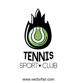 ball tennis sport with flame and lettering line and fill style icon
