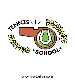 ball tennis sport in whistle line and fill style icon