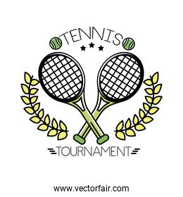 tennis balls and lettering with rackets line and fill style