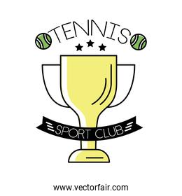 tennis balls and lettering with trophy cup line and fill style