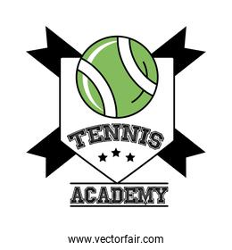 ball tennis sport with ribbons in shield line and fill style icon