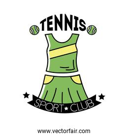 tennis balls and lettering with female suit line and fill style