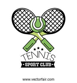 ball and rackets tennis sport line and fill style icon