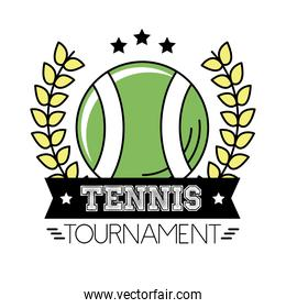 ball tennis sport with wreath crown and lettering line and fill style