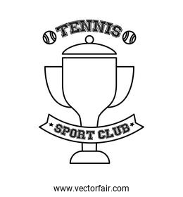 tennis balls and lettering with trophy line style