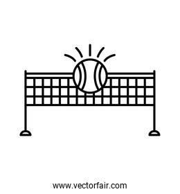 ball tennis sport with net line style icon