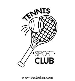 ball and racket tennis sport line style icon
