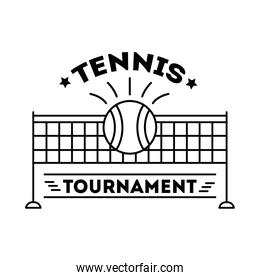 ball tennis sport with lettering and net line style icon