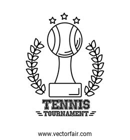 trophy ball tennis sport with wreath crown line style icon