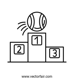 ball tennis sport with podium line style icon