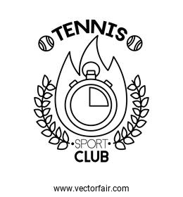 tennis balls and lettering with chronometer line style