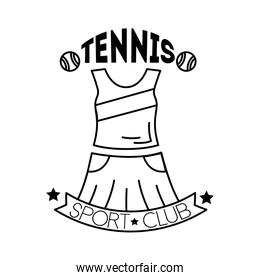 tennis balls and lettering with female suit line style