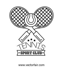 ball and rackets tennis sport line style icon