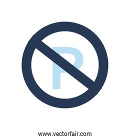 parking road sign with ban flat style icon vector design