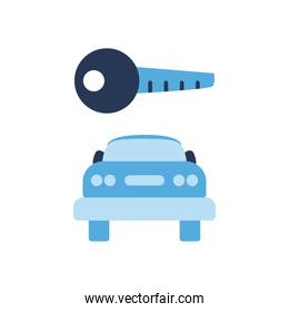 key over car front side flat style icon vector design