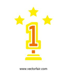 number one trophy with decorative stars icon, flat style