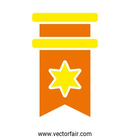 badge with star icon, flat style
