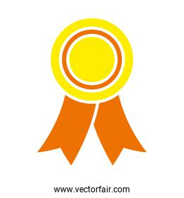 medal with ribbon icon, flat style