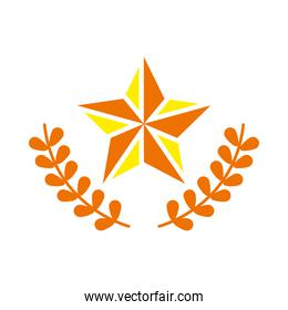 star and wreath leaves icon, flat style