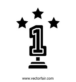 number one trophy with decorative stars icon, silhouette style