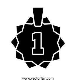 medal with number one icon, silhouette style