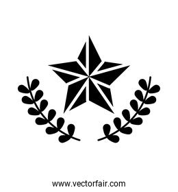 star and wreath leaves icon, silhouette style