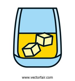 glass of whisky on the rocks icon, line and fill style