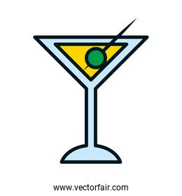martini cocktail icon, line and fill