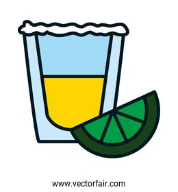 tequila shot and lemon slice, line and fill style