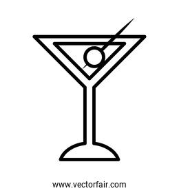 martini cocktail icon, line style