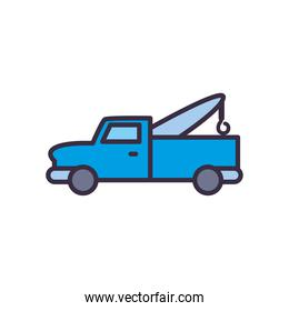 pickup car with crane line and fill style icon vector design