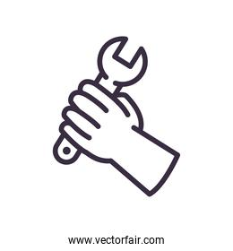 hand holding wrench line style icon vector design