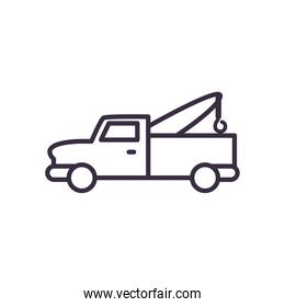 pickup car with crane line style icon vector design