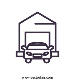 car in front of garage line style icon vector design